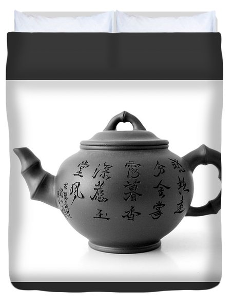 Duvet Cover featuring the photograph Teapot by Gina Dsgn