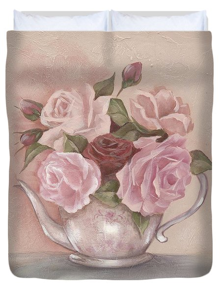 Teapot Roses Duvet Cover by Chris Hobel