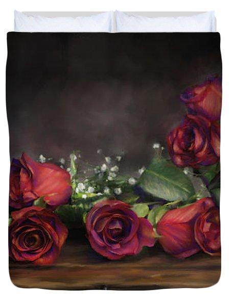 Teapot Roses Duvet Cover by Susan Kinney