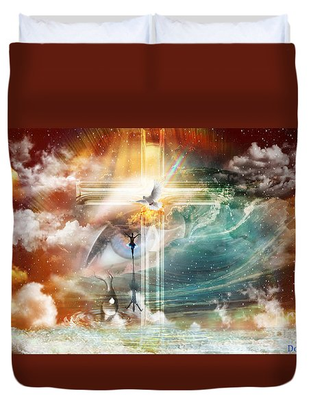 Duvet Cover featuring the digital art Tears To Triumph by Dolores Develde