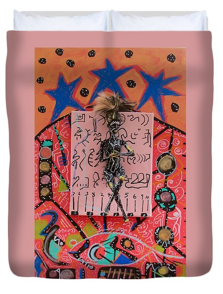 Duvet Cover featuring the painting Teasel Herbal Tincture by Clarity Artists