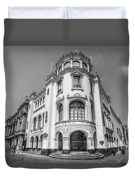 Duvet Cover featuring the photograph Teatro Colon Lima by Gary Gillette