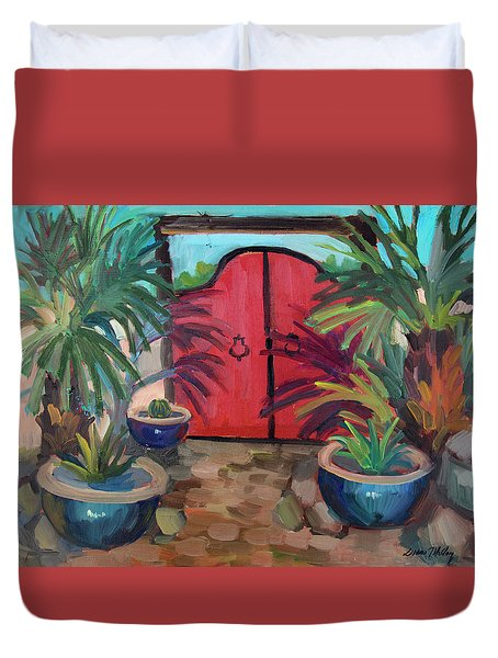 Duvet Cover featuring the painting Tecate Garden Gate by Diane McClary