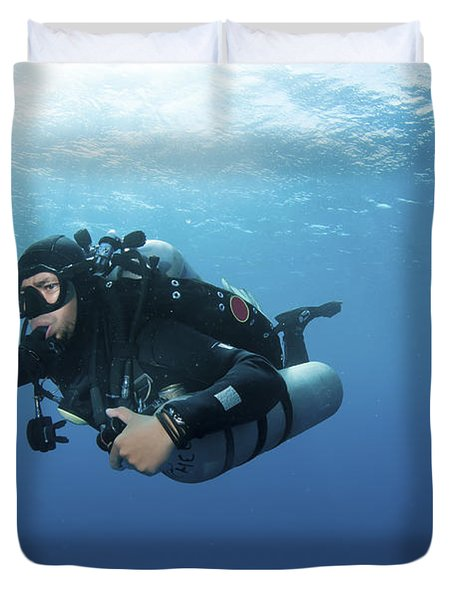 Technical Diver With Equipment Swimming Duvet Cover by Karen Doody