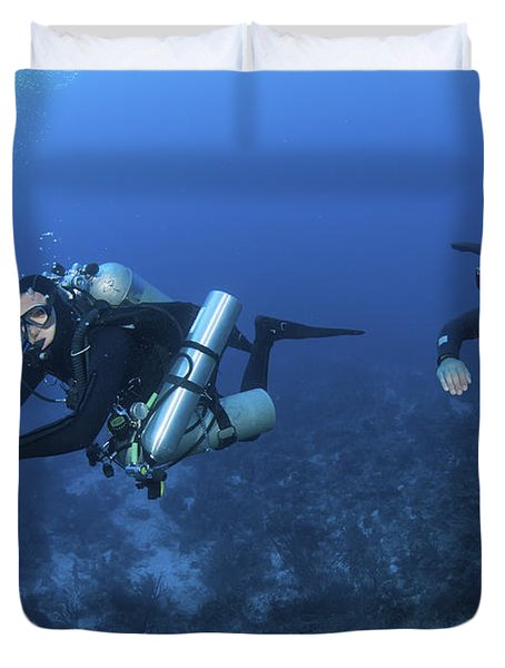 Technical Divers With Equipment Duvet Cover by Karen Doody