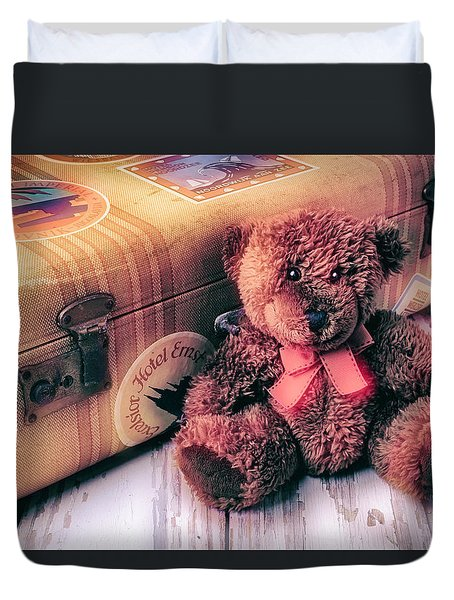 Teddy Bear And Suitcase Duvet Cover