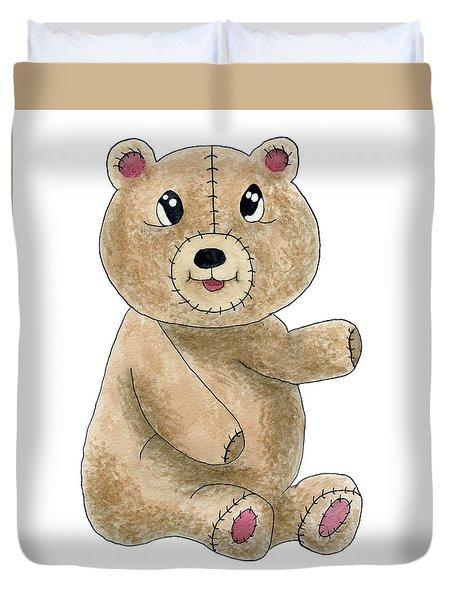 Teddy Bear Watercolor Painting Duvet Cover