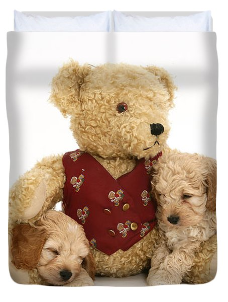 Teddy Bear With Puppies Duvet Cover by Jane Burton