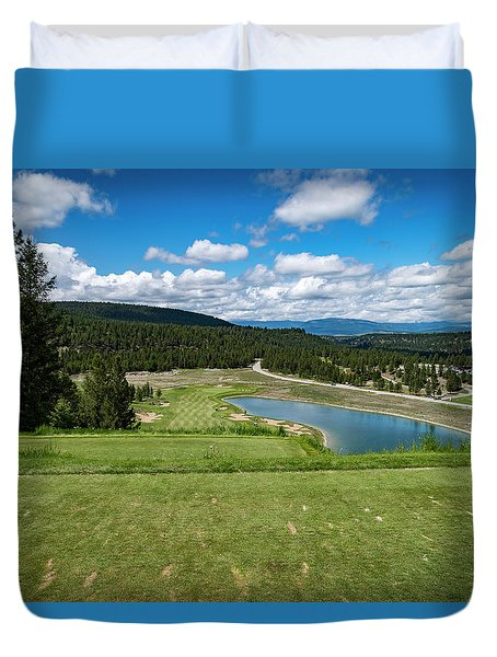 Duvet Cover featuring the photograph Tee Box With As View by Darcy Michaelchuk