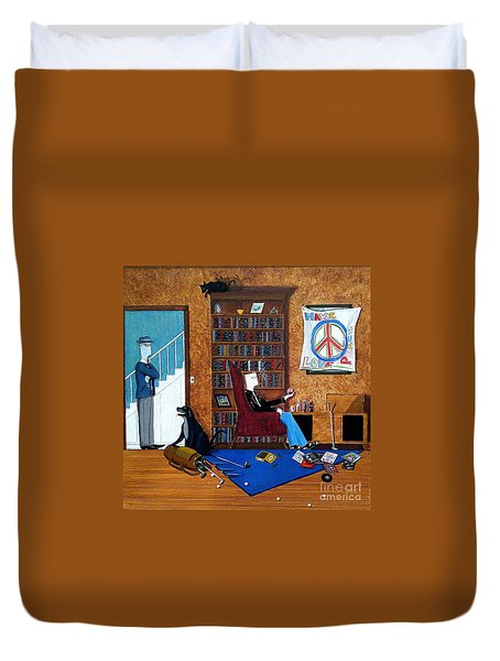 Teen Sitting In Chair Enjoying A Brandy In Father's Den Duvet Cover by John Lyes