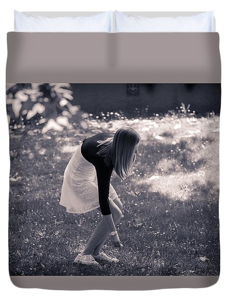 Teenager Picking Flowers In The Meadows Duvet Cover