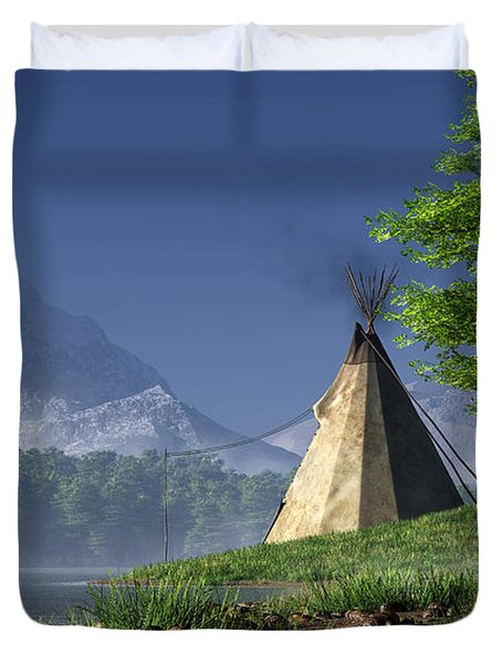 Duvet Cover featuring the digital art Teepee By A Lake by Daniel Eskridge