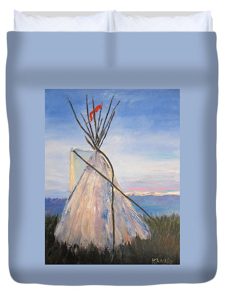 Teepee Dawn Duvet Cover by Kathryn Barry