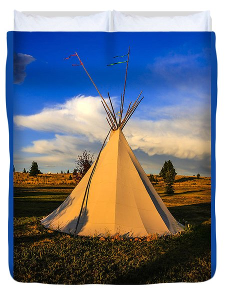 Teepee In Montana Duvet Cover by Chris Smith