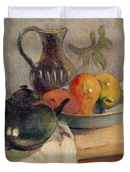 Teiera Brocca E Frutta Duvet Cover by Paul Gauguin
