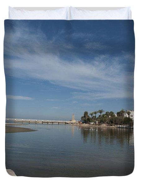 Duvet Cover featuring the photograph Tel Aviv Old Port 1 by Dubi Roman