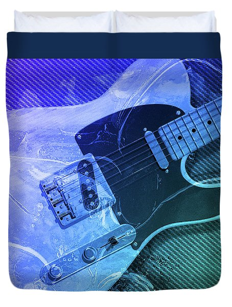 Duvet Cover featuring the digital art Tele Blue by WB Johnston