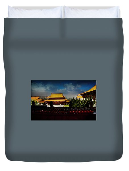 Duvet Cover featuring the photograph Temple Candles by Joseph Hollingsworth