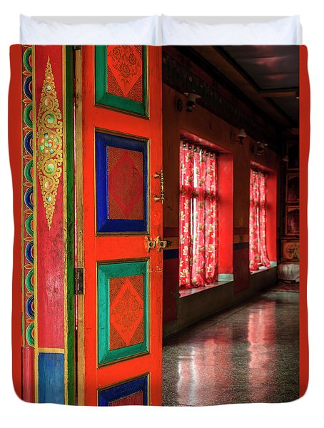 Duvet Cover featuring the photograph Temple Door by Alexey Stiop