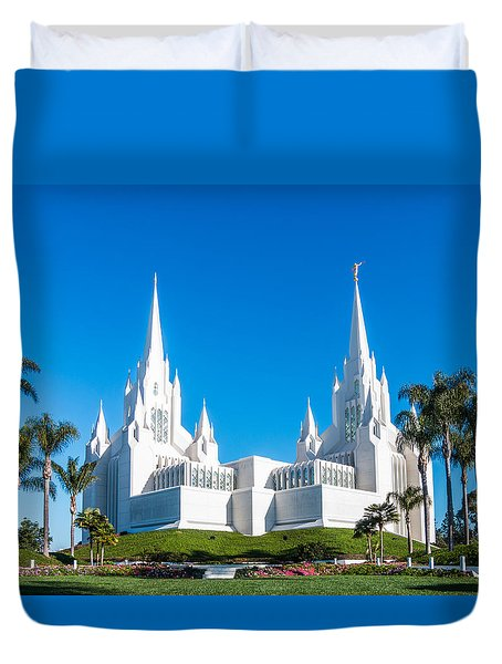 Duvet Cover featuring the photograph Temple Glow by Patti Deters