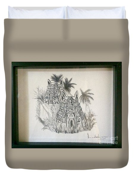 Temple In Calligraphy Ink Duvet Cover