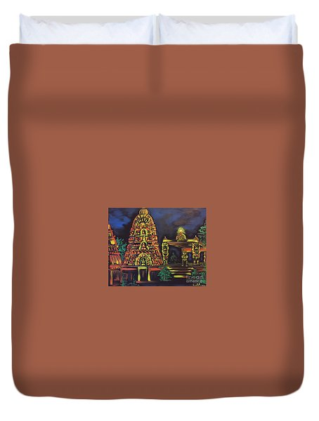 Temple Lights In The Night Duvet Cover