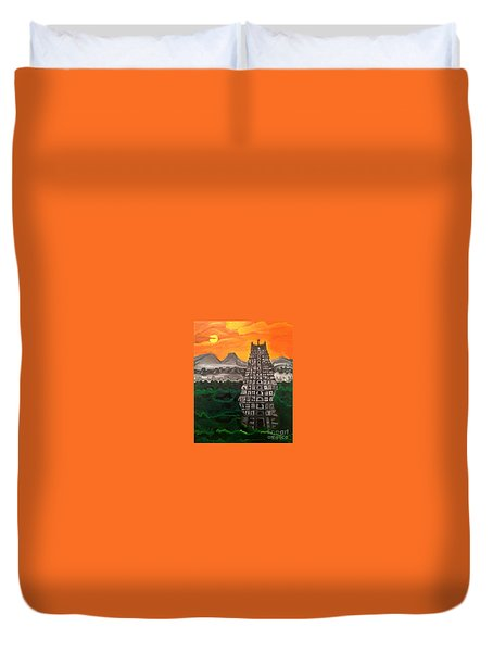 Temple Near The Hills Duvet Cover