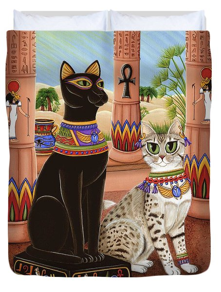 Temple Of Bastet - Bast Goddess Cat Duvet Cover by Carrie Hawks