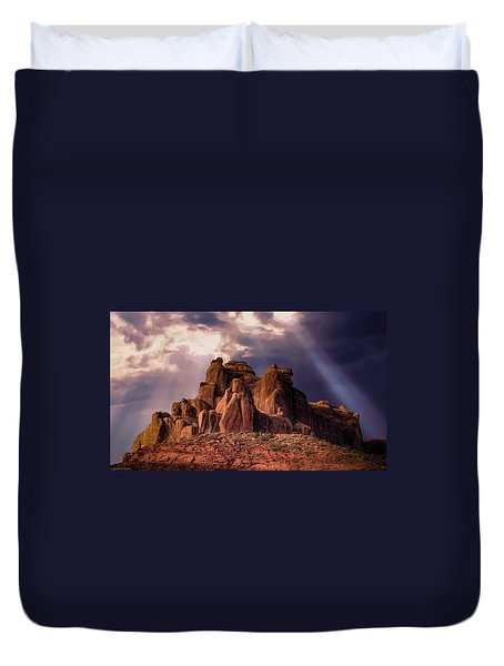Temple Of Red Stone Duvet Cover