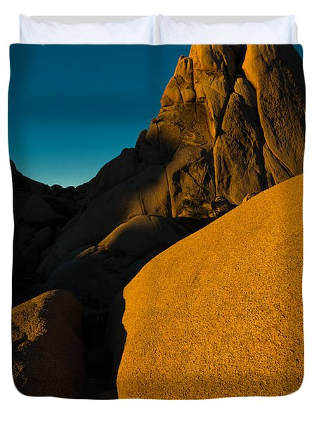 Temple Rock, Joshua Tree, Sunrise Duvet Cover