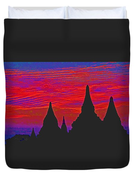 Duvet Cover featuring the photograph Temple Silhouettes by Dennis Cox WorldViews