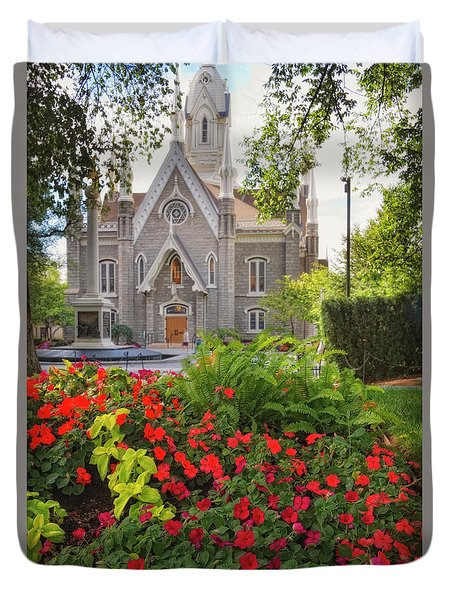 Temple Square Flowers Duvet Cover