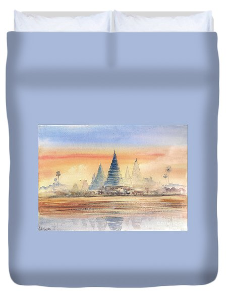 Duvet Cover featuring the painting Temples In The Dusk by Asha Sudhaker Shenoy