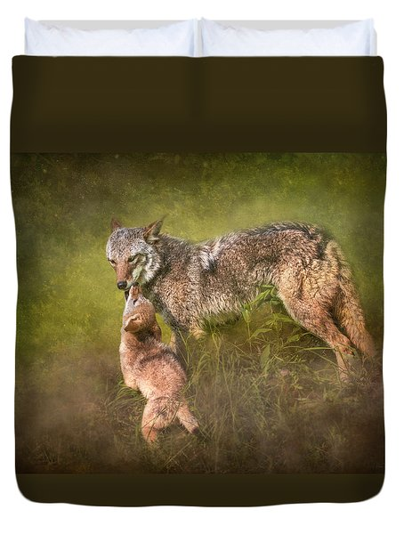Duvet Cover featuring the digital art Tender Moment by Nicole Wilde
