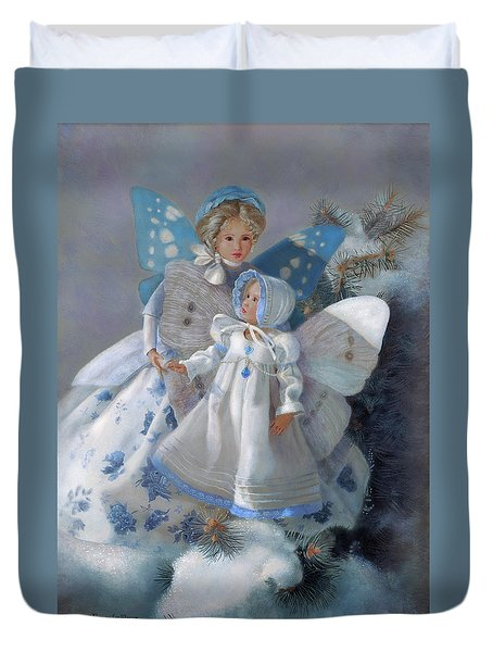 Duvet Cover featuring the painting Tenderness Snow Fairies by Nancy Lee Moran