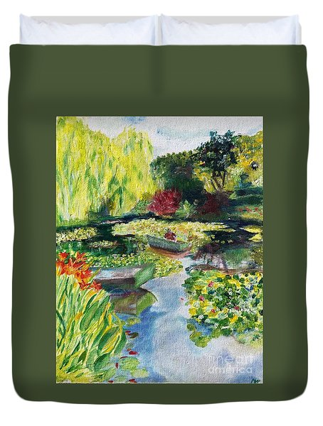Duvet Cover featuring the painting Tending The Pond by Mary K Conaboy