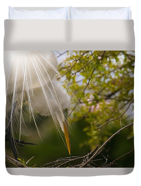 Duvet Cover featuring the photograph Tending To The Nest by Kelly Marquardt