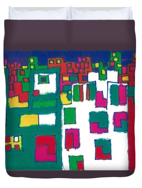 Duvet Cover featuring the painting Tenements by Don Koester