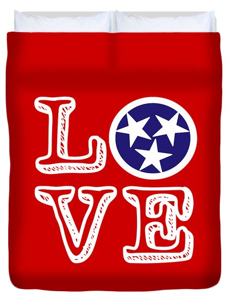Duvet Cover featuring the digital art Tennessee Flag Love by Heather Applegate