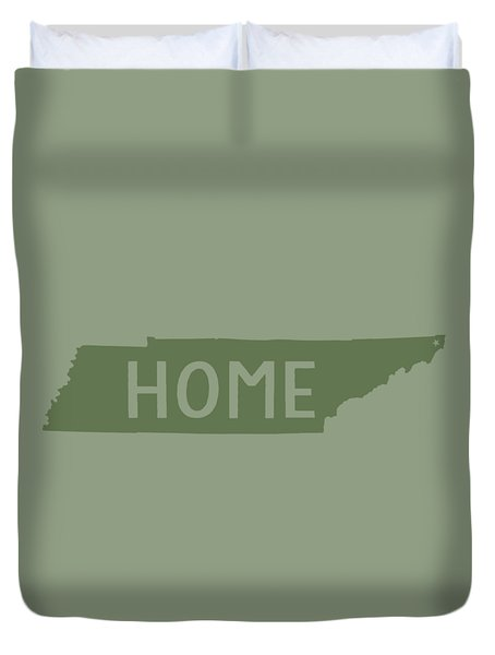 Duvet Cover featuring the digital art Tennessee Home Green by Heather Applegate
