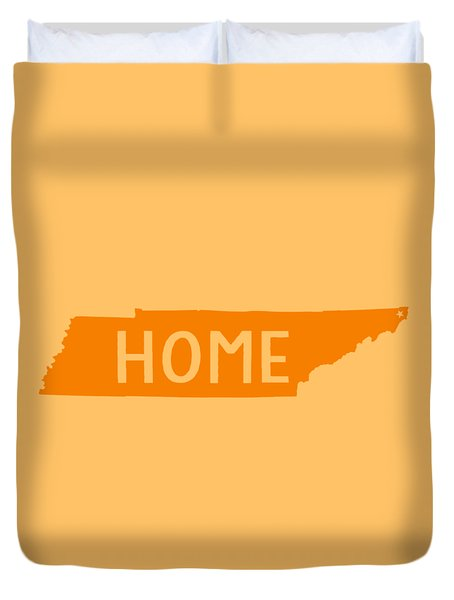 Duvet Cover featuring the digital art Tennessee Home Orange by Heather Applegate