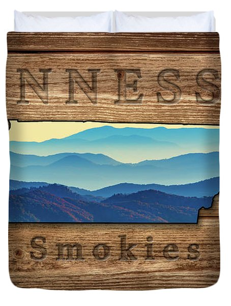 Tennessee The Smokies State Map Duvet Cover