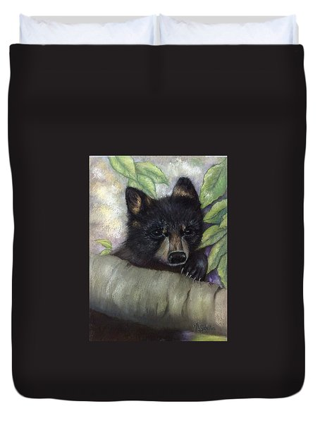 Duvet Cover featuring the painting Tennessee Wildlife Black Bear by Annamarie Sidella-Felts