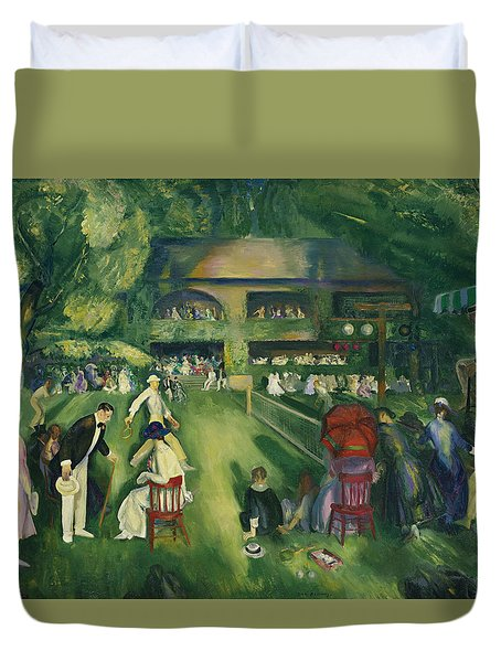 Tennis At Newport Duvet Cover by George Bellows