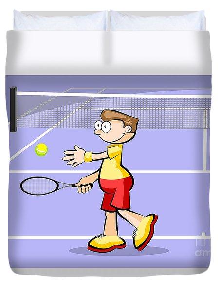 Tennis Player Prepares To Make A Serve Duvet Cover