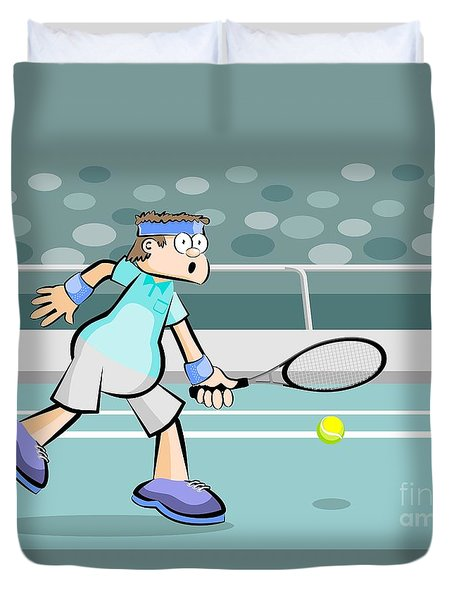 Tennis Player Rejecting The Ball Duvet Cover
