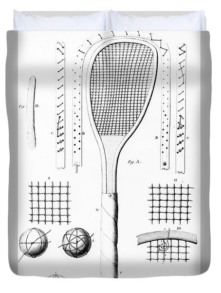 Tennis Racket And Balls Duvet Cover by French School
