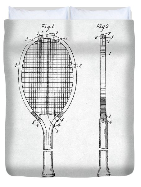 Tennis Racket Patent 1907 Duvet Cover