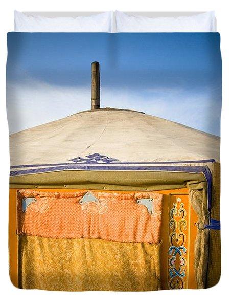 Tent In The Desert Ulaanbaatar, Mongolia Duvet Cover by David DuChemin