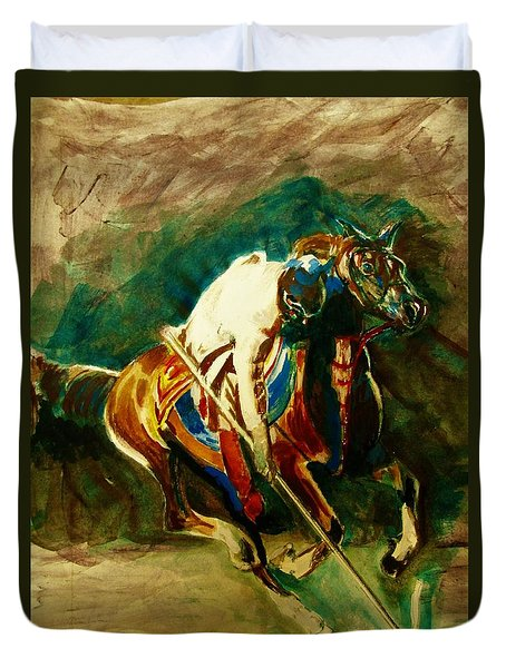 Tent Pegging Sport Duvet Cover by Khalid Saeed